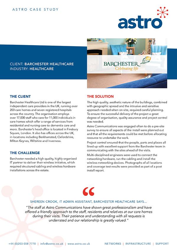 Barchester Healthcare – Astro Communications Ltd